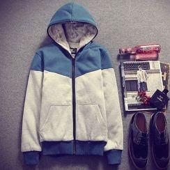RIVOLO - Hooded Color Block Fleece Lined Zip jacket