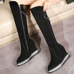 JY Shoes - Chain Detailed Hidden Wedge Over-the-Knee Boots