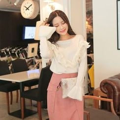 Cherryville - Boat-Neck Frilled Knit Top