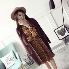 Qimi - Patterned Applique Long Cardigan