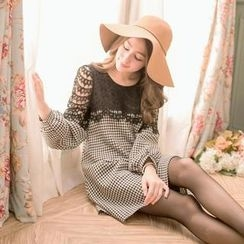 Tokyo Fashion - Long-Sleeve Lace-Panel Houndstooth Dress
