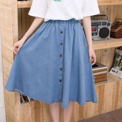 Carabecca - Button-front Denim Skirt