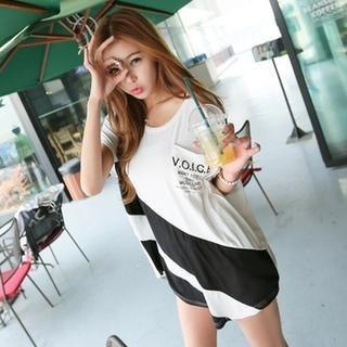 Koo - Loose Fit Color Block T-Shirt