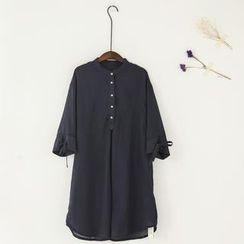11.STREET - 灯笼宽松茧型小立领衬衫连衣裙