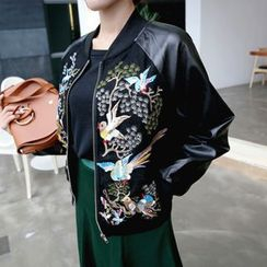 DABAGIRL - Raglan-Sleeve Bird Embroidered Zip Jacket