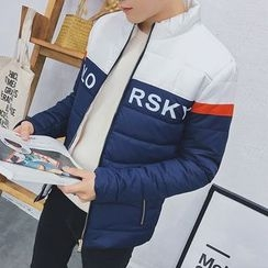 Danjieshi - Color Block Stand Collar Padded Jacket