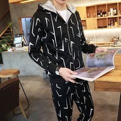 Danjieshi - Set: Printed Zip Hoodie + Sweatpants