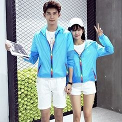 Azure - Couple Matching Colored Zipper Hooded Windbreaker