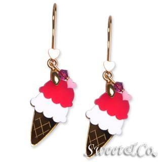Sweet & Co. - Sweet&Co. Gold Mirror Fuchsia Ice-Cream Earrings