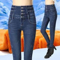 伊之恋 - 内加绒高腰牛仔裤