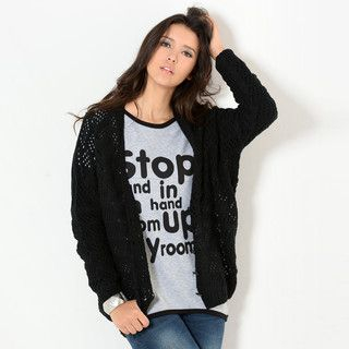 YesStyle Z - Batwing-Sleeve V-Neck Open-Knit Cardigan