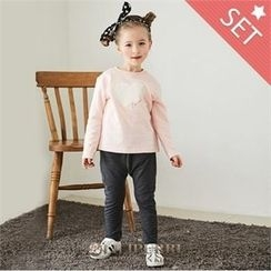 LILIPURRI - Girls Set: Heart Print T-Shirt + Pants