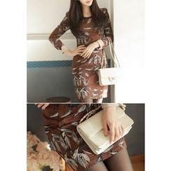 MyFiona - Contrast-Cuff Printed Sheath Dress