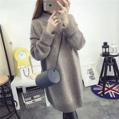 YAMI - Plain Mock Neck Sweater Dress