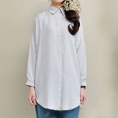 Yammi - Plain Slit Long Shirt