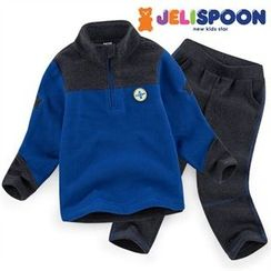 JELISPOON - Boys Set: Zip-Neck Fleece Top + Sweatpants