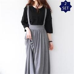 GLAM12 - Set: Asymmetric T-Shirt + Suspender Long Skirt
