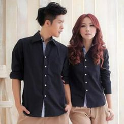 Gurun Vani - Long-Sleeve Contrast Trim Couple Shirt