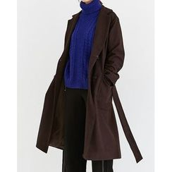 Someday, if - Double-Breasted Wool Blend Long Coat with Sash