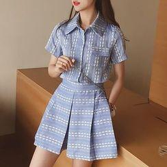 小谷粒 - 套装: 印花短袖衬衫 + 宽腿短裤