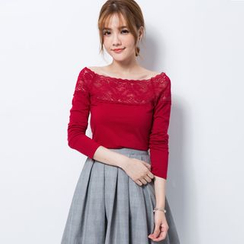 Tokyo Fashion - Lace-Panel Long-Sleeve Top