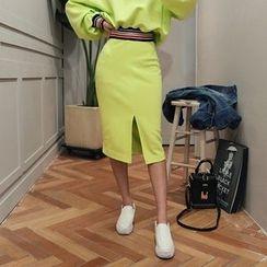 DABAGIRL - Contrast-Trim Cotton Pencil Skirt