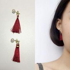 Calypso - Faux Pearl Tasseled Earrings