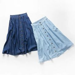 Heybabe - Button Down Denim Skirt