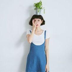 BAIMOMO - Denim Jumper Skirt