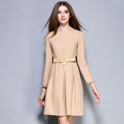 Cherry Dress - Long-Sleeve Tie Waist A-Line Dress