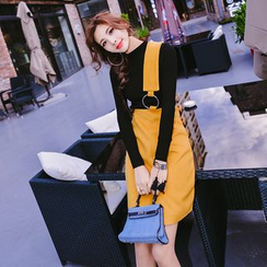 Ozawa - Set: Knit Top + Single-Strap Suspender Skirt