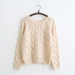 Pecora - Plain Cable Knit Sweater
