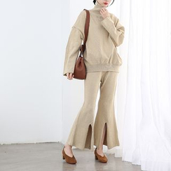 HORG - Set: High Neck Sweater + Slit knit Wide Leg Pants