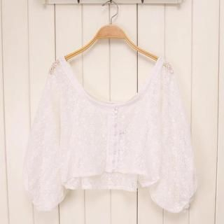 JVL - Lantern-Sleeve Cropped Lace Cardigan