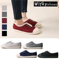 Wifky - Toe-Cap Fleece-Trim Slip-Ons