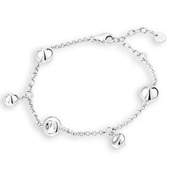 Bling Bling - Bling Bling Platinum Plated 925 Silver Station Teardrops Bracelet (6.5 Inches)