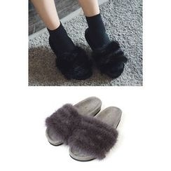 migunstyle - Faux-Fur Slid Sandals