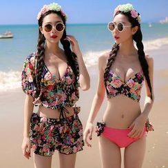 Beach Date - Set: Printed Bikini + Top + Layered Skirt