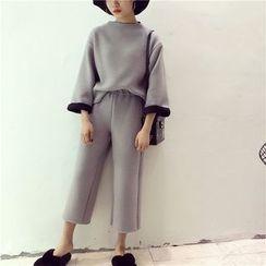 Octavia - 套装: 七分袖高领套衫 + 宽腿裤