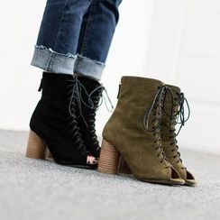 VIVIER - Open-Toe Lace-Up Booties