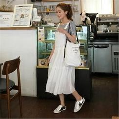 QNIGIRLS - Set: Round-Neck Stripe T-Shirt + Chiffon Jumper Skirt