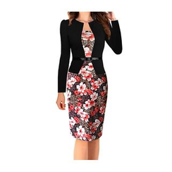 Forest Of Darama - Floral Print Panel Sheath Dress with Belt