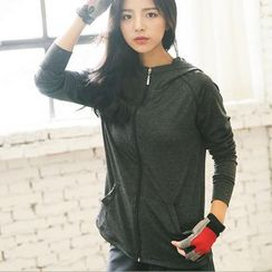 AT NINE - Plain Hooded Zip Jacket