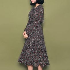 HOTPING - Smocked-Waist Floral Print A-Line Dress