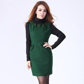 O.SA - Mock Two-Piece Wool-Blend Dress