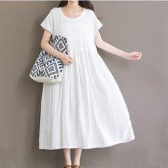 Clover Dream - 孕婦純色短袖連衣裙