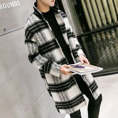 Edouard - Plaid Woolen Long Coat
