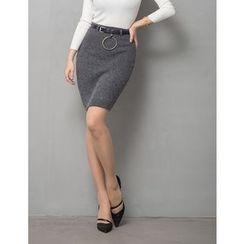 GUMZZI - Belted Knit Skirt