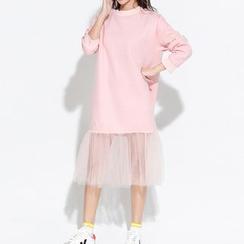 Myrtle - Mesh Hem Midi Pullover Dress