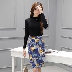 Zella - Set: Long Sleeve Knit Top + Printed Pencil Skirt